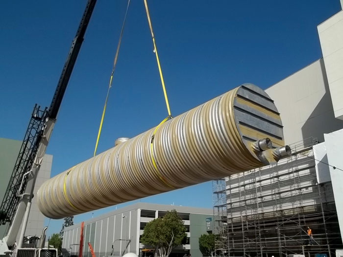 This 48-foot, 96-inch-diameter metal cistern was one of two installed in just one day at a project site in urban Los Angeles as part of a rainwater harvesting treatment and detention system.