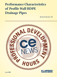 Performance Characteristics of Profile Wall HDPE Drainage Pipes