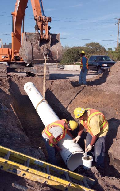 PVC pipe is installed in a sanitary sewer application